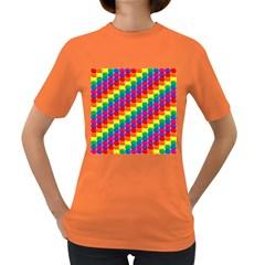Rainbow 3d Cubes Red Orange Women s Dark T-Shirt