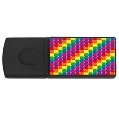Rainbow 3d Cubes Red Orange Usb Flash Drive Rectangular (4 Gb)