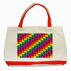 Rainbow 3d Cubes Red Orange Classic Tote Bag (Red)