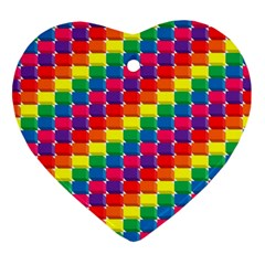 Rainbow 3d Cubes Red Orange Heart Ornament (two Sides)