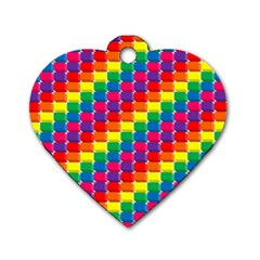 Rainbow 3d Cubes Red Orange Dog Tag Heart (One Side)
