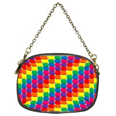 Rainbow 3d Cubes Red Orange Chain Purses (Two Sides)