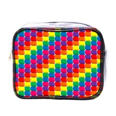 Rainbow 3d Cubes Red Orange Mini Toiletries Bags