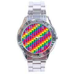 Rainbow 3d Cubes Red Orange Stainless Steel Analogue Watch