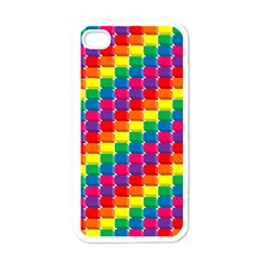 Rainbow 3d Cubes Red Orange Apple iPhone 4 Case (White)