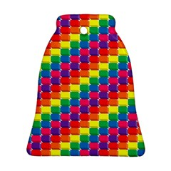 Rainbow 3d Cubes Red Orange Bell Ornament (two Sides)