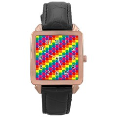 Rainbow 3d Cubes Red Orange Rose Gold Leather Watch