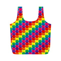 Rainbow 3d Cubes Red Orange Full Print Recycle Bags (M)