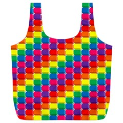 Rainbow 3d Cubes Red Orange Full Print Recycle Bags (L)