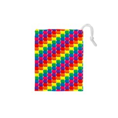 Rainbow 3d Cubes Red Orange Drawstring Pouches (XS)
