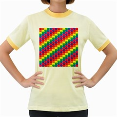 Rainbow 3d Cubes Red Orange Women s Fitted Ringer T-Shirts