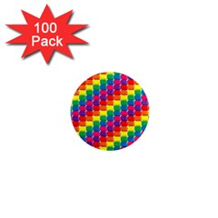 Rainbow 3d Cubes Red Orange 1  Mini Magnets (100 pack)