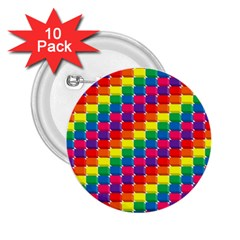 Rainbow 3d Cubes Red Orange 2.25  Buttons (10 pack)