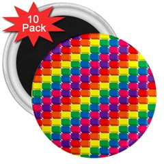 Rainbow 3d Cubes Red Orange 3  Magnets (10 pack)