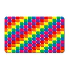Rainbow 3d Cubes Red Orange Magnet (Rectangular)
