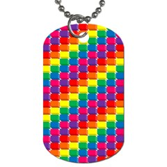 Rainbow 3d Cubes Red Orange Dog Tag (One Side)