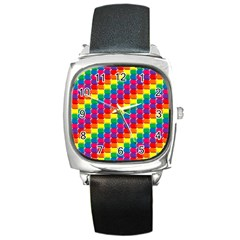 Rainbow 3d Cubes Red Orange Square Metal Watch