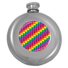 Rainbow 3d Cubes Red Orange Round Hip Flask (5 oz)