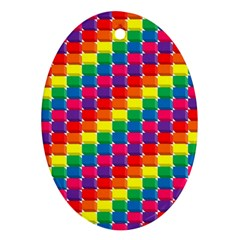Rainbow 3d Cubes Red Orange Oval Ornament (Two Sides)