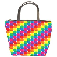 Rainbow 3d Cubes Red Orange Bucket Bags