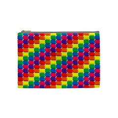 Rainbow 3d Cubes Red Orange Cosmetic Bag (Medium)