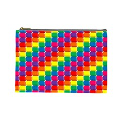 Rainbow 3d Cubes Red Orange Cosmetic Bag (large)