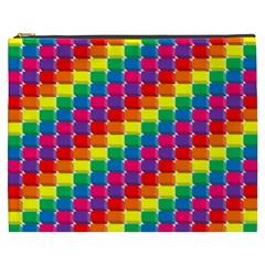 Rainbow 3d Cubes Red Orange Cosmetic Bag (XXXL)