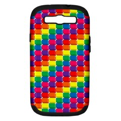 Rainbow 3d Cubes Red Orange Samsung Galaxy S III Hardshell Case (PC+Silicone)