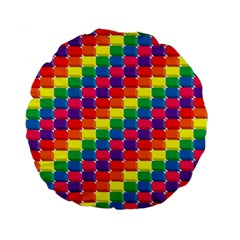Rainbow 3d Cubes Red Orange Standard 15  Premium Round Cushions
