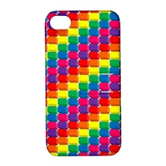 Rainbow 3d Cubes Red Orange Apple Iphone 4/4s Hardshell Case With Stand