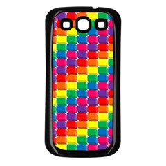 Rainbow 3d Cubes Red Orange Samsung Galaxy S3 Back Case (black)