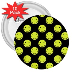 Happy Face Pattern 3  Buttons (10 pack)