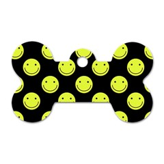 Happy Face Pattern Dog Tag Bone (two Sides)