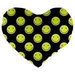 Happy Face Pattern Large 19  Premium Heart Shape Cushions Front