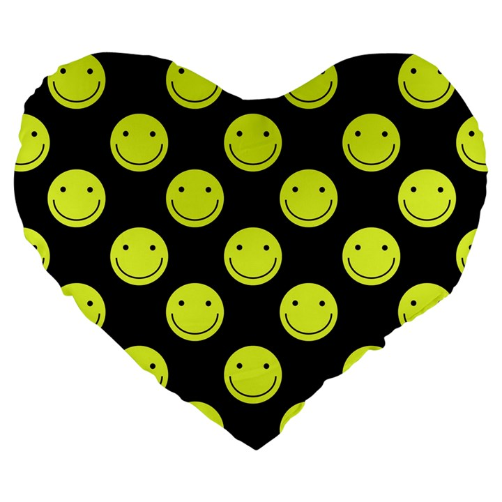 Happy Face Pattern Large 19  Premium Heart Shape Cushions