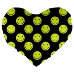 Happy Face Pattern Large 19  Premium Heart Shape Cushions Back