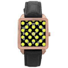 Happy Face Pattern Rose Gold Leather Watch