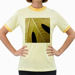 Yellow Leaf Fig Tree Texture Women s Fitted Ringer T-Shirts