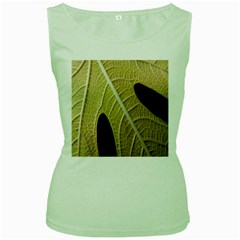 Yellow Leaf Fig Tree Texture Women s Green Tank Top