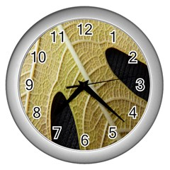 Yellow Leaf Fig Tree Texture Wall Clocks (Silver)