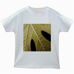 Yellow Leaf Fig Tree Texture Kids White T-Shirts