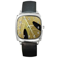 Yellow Leaf Fig Tree Texture Square Metal Watch