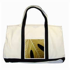 Yellow Leaf Fig Tree Texture Two Tone Tote Bag