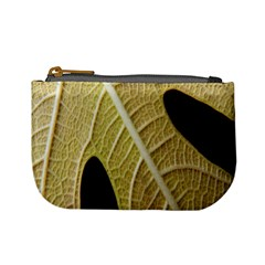 Yellow Leaf Fig Tree Texture Mini Coin Purses