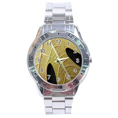 Yellow Leaf Fig Tree Texture Stainless Steel Analogue Watch