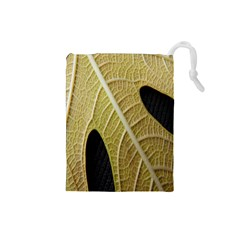 Yellow Leaf Fig Tree Texture Drawstring Pouches (Small)