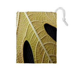 Yellow Leaf Fig Tree Texture Drawstring Pouches (large)