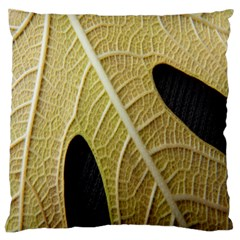 Yellow Leaf Fig Tree Texture Large Flano Cushion Case (Two Sides)