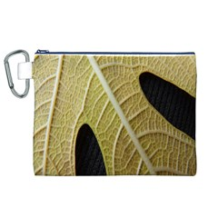 Yellow Leaf Fig Tree Texture Canvas Cosmetic Bag (XL)