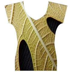 Yellow Leaf Fig Tree Texture Women s V-Neck Cap Sleeve Top